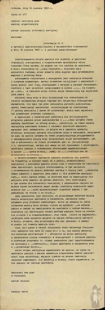 Jan Pawel II - pielgrzymki informacja 1983 rok 4