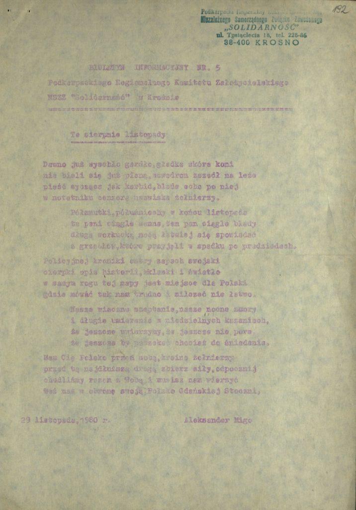 Biuletyn Informacyjny Nr 5 Podkarpackiego Regionalnego Komitetu Założycielskiego NSZZ Solidarność w Krośnie z 1980 r., s.192