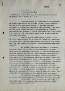 Informacja z dn. 18.08.1980 r. o przestoju pracy w Sanockiej Fabryce Autobusów Autosan na Wydziale W-5 w dniach 15-16 bm., s.137
