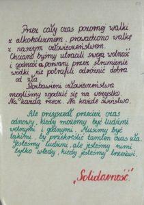 Odręcznie wykonany plakat Solidarności w Ustrzykach Dolnych promujący trzeźwość