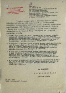 Pismo Przewodniczącego Związku Zawodowego w Przemyślu z dn. 2.01.1981 r. do władz rządowych i samorządowych w sprawie podjętych uchwał podczas strajku okupacyjnego w Urz