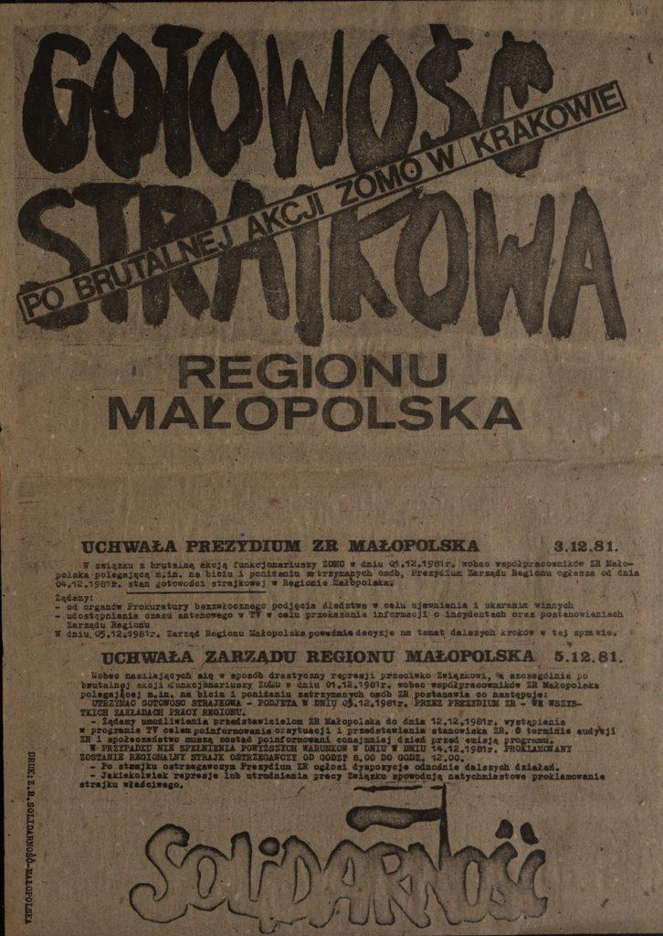 Plakat Gotowość strajkowa po brutalnej akcji ZOMO w Krakowie Regionu Małopolska z dn. 3.12.1981 r.