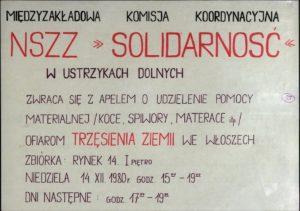 Plakat MKK NSZZ Solidarność w Ustrzykach Dolnych z 14.12.1980 r. w sprawie udzielenia pomocy materialnej ofiarom trzęsienia ziemi we Włoszech