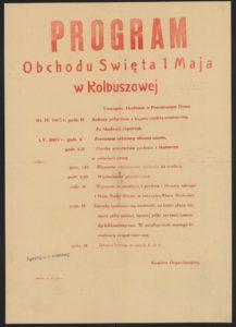 Plakat pierwszomajowy z 1960 roku Kolbuszowa