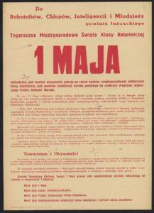Plakat pierwszomajowy z 1961 roku Łańcu