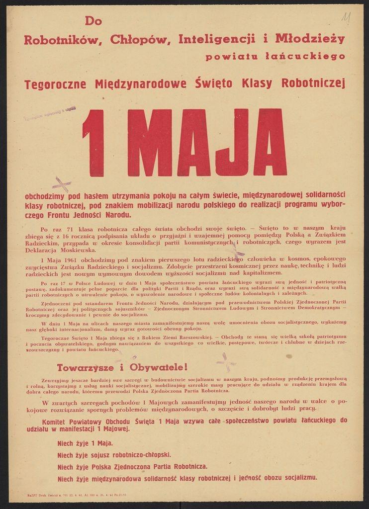 Plakat pierwszomajowy z 1961 roku Łańcut (2)