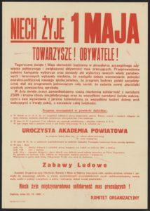 Plakat pierwszomajowy z 1961 roku Dębica