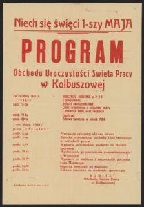 Plakat pierwszomajowy z 1961 roku Kolbuszowa