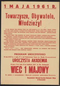 Plakat pierwszomajowy z 1961 roku Rzeszów