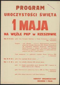 Plakat pierwszomajowy z 1962 roku Rzeszów