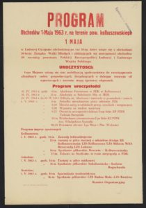 Plakat pierwszomajowy z 1963 roku Kolbuszowa