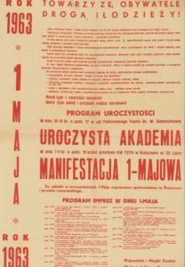 Plakat pierwszomajowy z 1963 roku Rzeszów