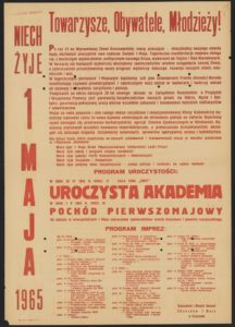 Plakat pierwszomajowy z 1965 roku Rzeszów