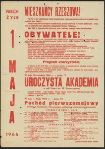 Plakat pierwszomajowy z 1966 roku Rzeszów