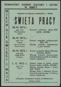 Plakat pierwszomajowy z 1972 roku Dębica