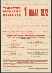 Plakat pierwszomajowy z 1972 roku Krosno