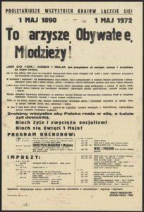 Plakat pierwszomajowy z 1972 roku Przemyśl
