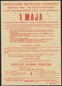 Plakat pierwszomajowy z 1972 roku Ropczyce