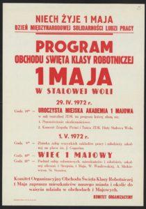 Plakat pierwszomajowy z 1972 roku Stalowa Wola