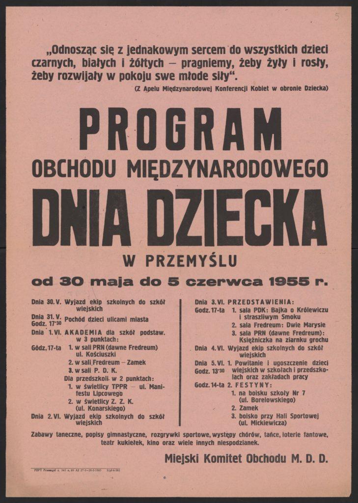 Plakat z okazji Dnia Dziecka 1955 r. Przemyśl