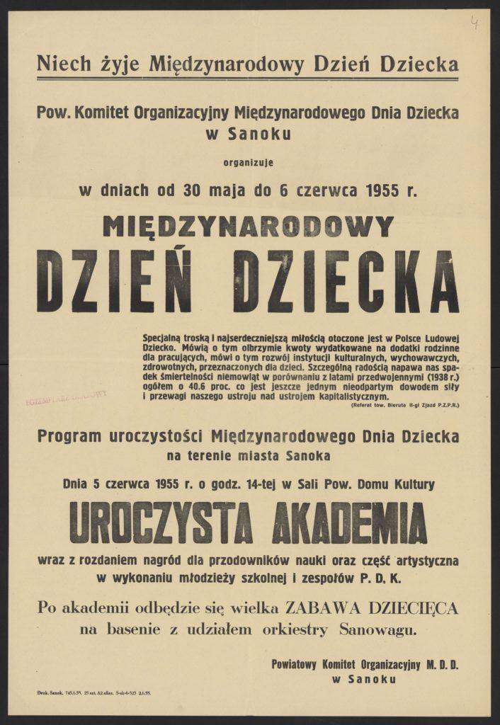 Plakat z okazji Dnia Dziecka 1955 r. Sanok