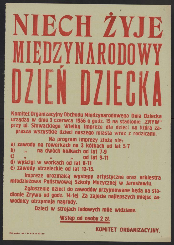 Plakat z okazji Dnia Dziecka 1956 r. Jarosław
