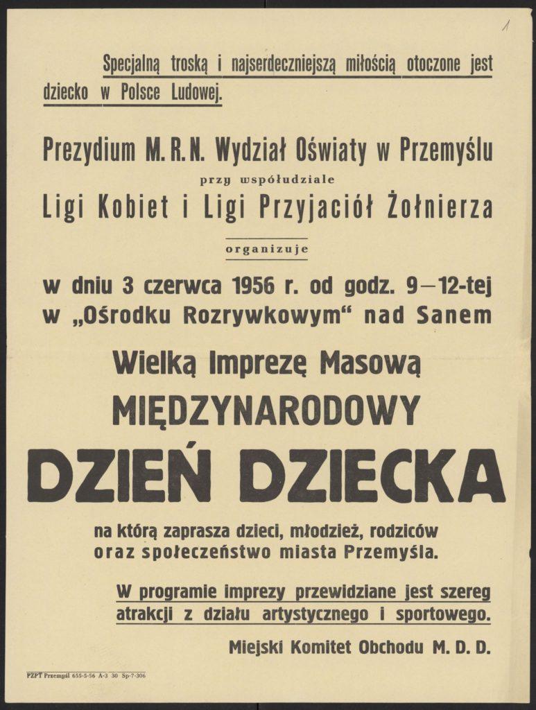 Plakat z okazji Dnia Dziecka 1956 r. Przemyśl