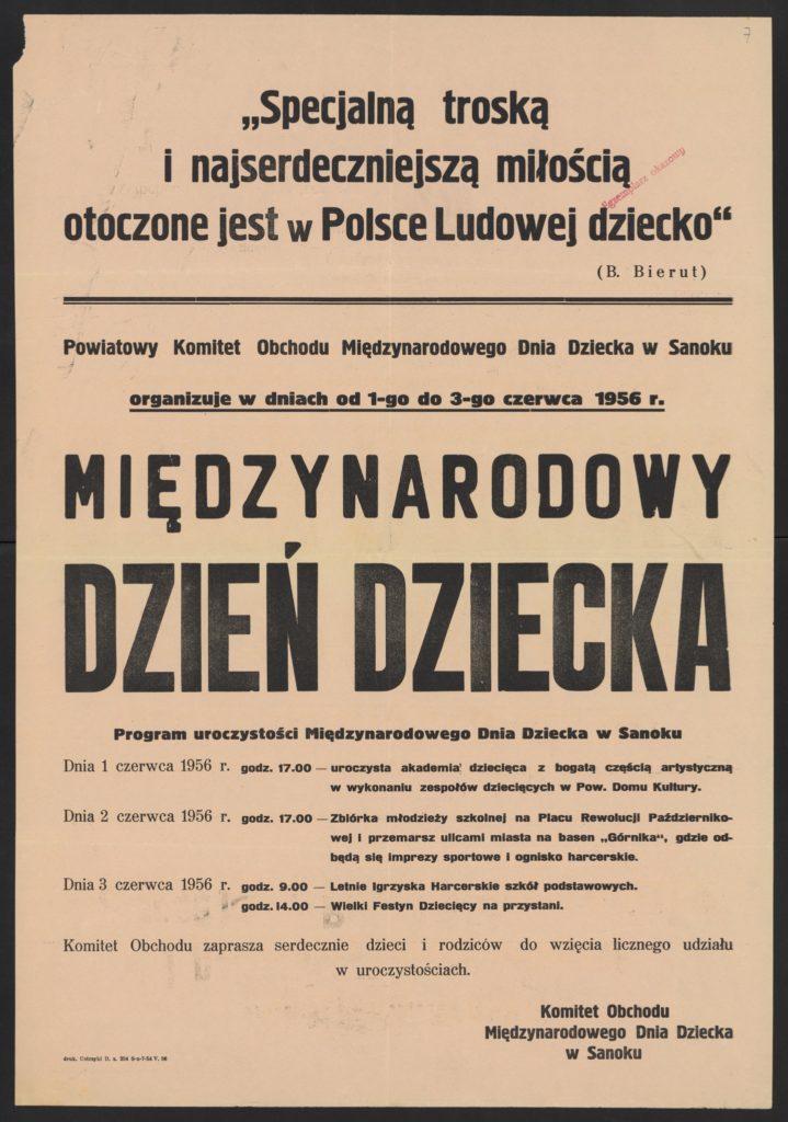 Plakat z okazji Dnia Dziecka 1956 r. Sanok