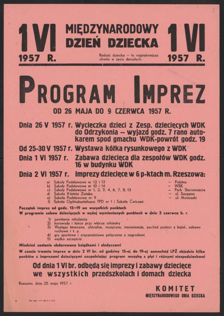 Plakat z okazji Dnia Dziecka 1957 r. Rzeszów