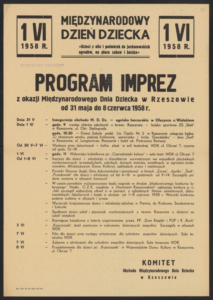 Plakat z okazji Dnia Dziecka 1958 r. Rzeszów