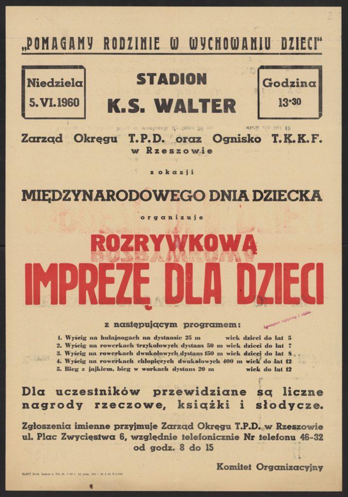 Plakat z okazji Dnia Dziecka 1960 r. Rzeszów