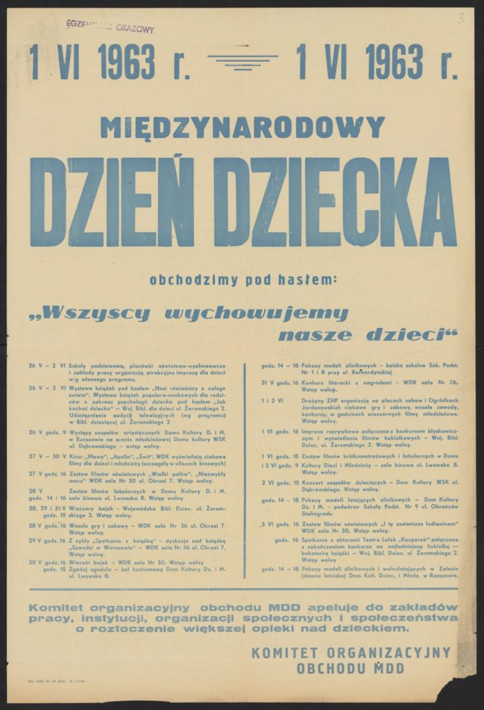 Plakat z okazji Dnia Dziecka 1963 r. Rzeszów