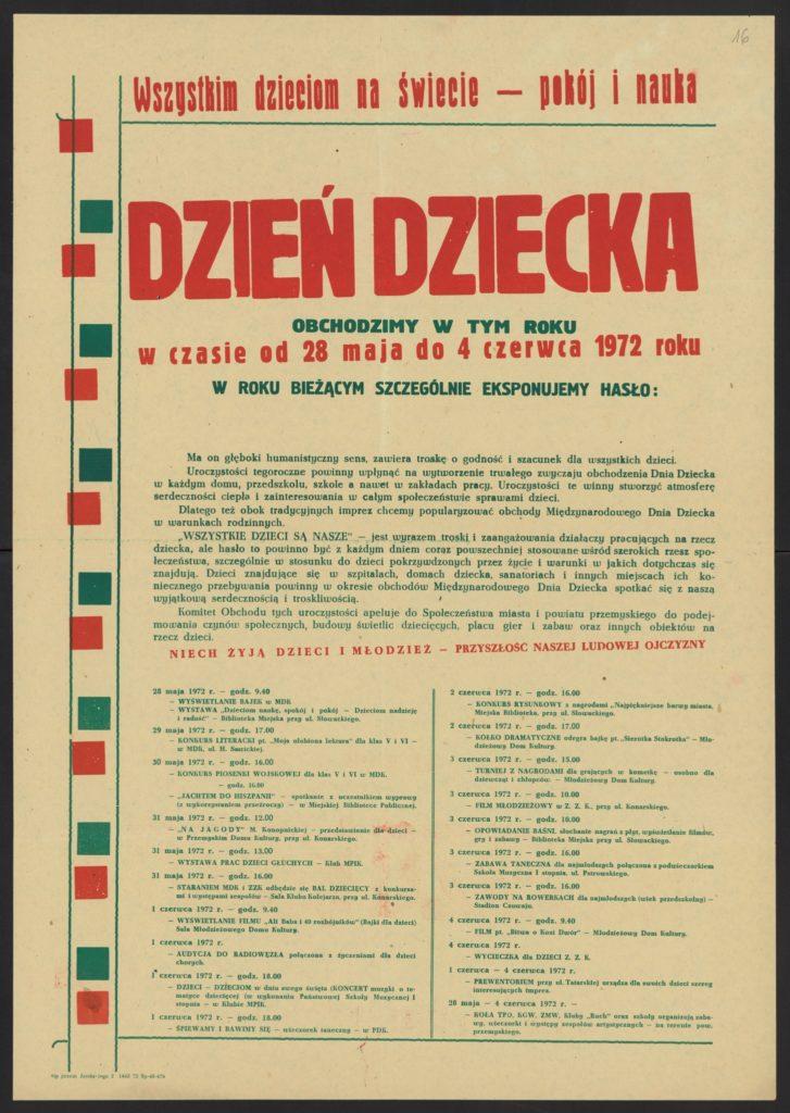 Plakat z okazji Dnia Dziecka 1972 r. Przemyśl