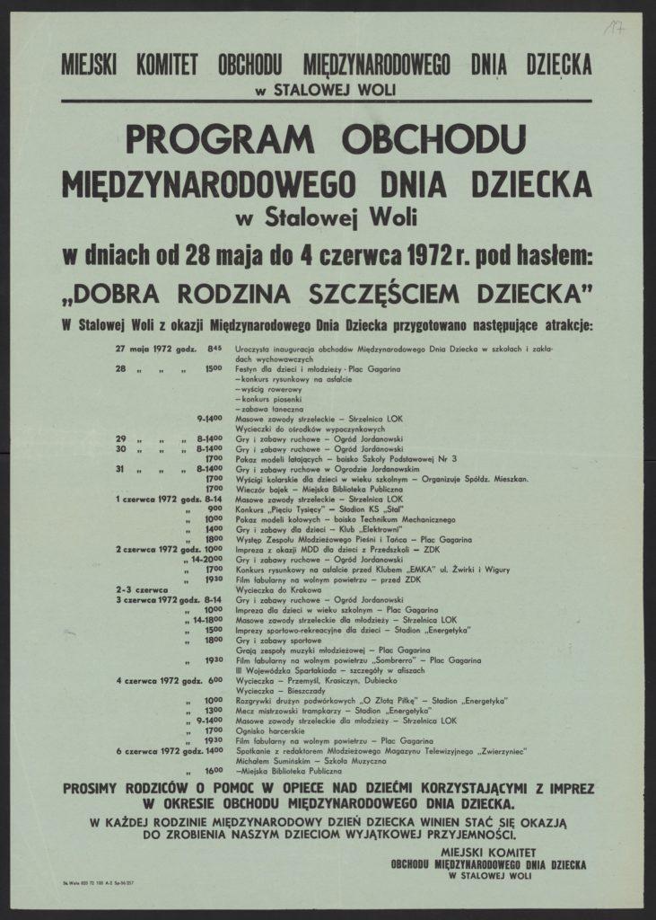 Plakat z okazji Dnia Dziecka 1972 r. Stalowa Wola
