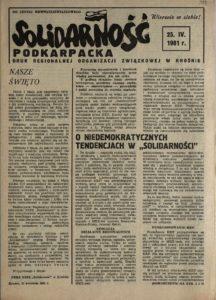 Solidarność Podkarpacka druk Regionalnej Organizacji Związkowej w Krośnie z dn. 25.04.1981 r. do użytku wewnątrzzwiązkowego, s.331
