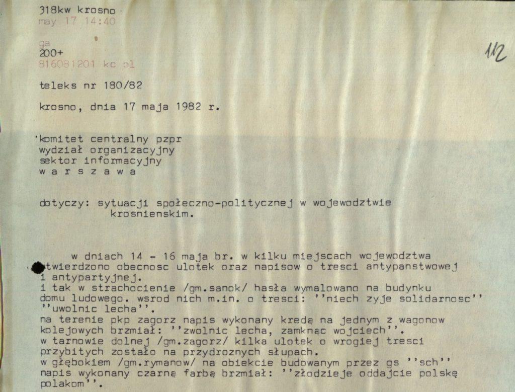 Działalność opozycyjna w Strachocinie 1982 r. 0
