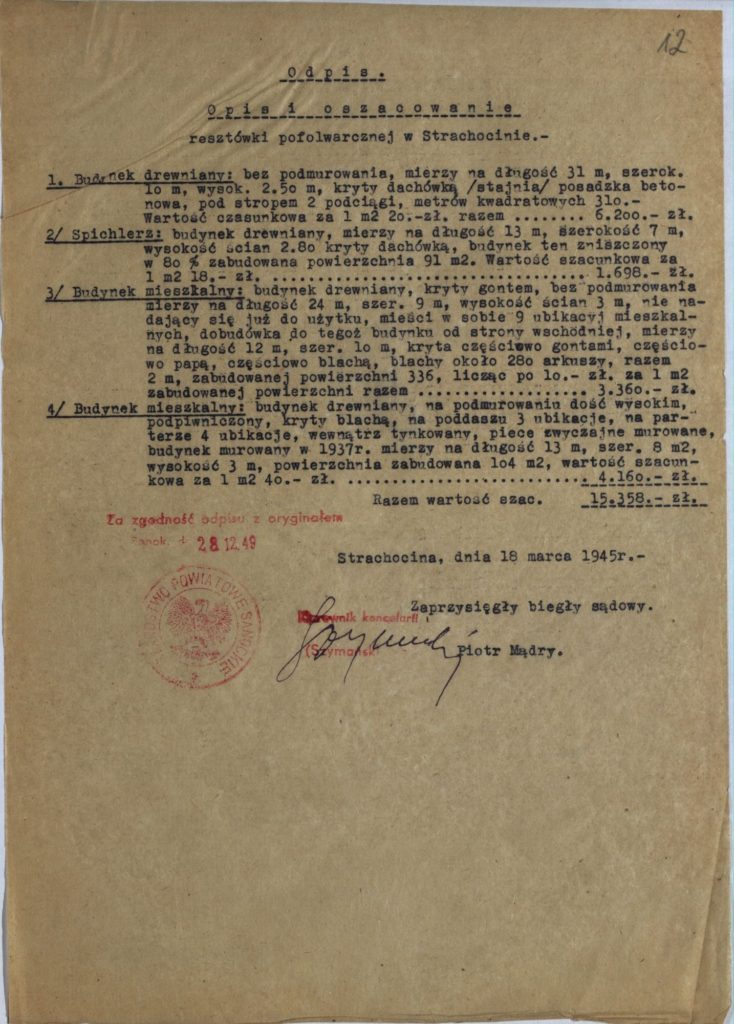 Opis resztówki pofolwarczej w Strachocinie z 1945 r