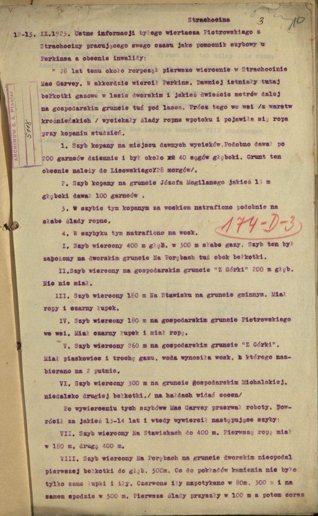 Pierwsze wiercenia w Strachocinie 1923 r. 1