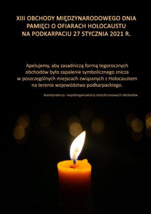 symboliczny znicz Międzynarodowych Dni Pamięci o Ofiarach Holokaustu na Podkarpaciubrak